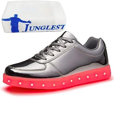 (Present:kleines Handtuch)Gold EU 35, Party Turnschuhe Glow Aufladen Tanzen LED Schuhe Unisex 7 Herren mode für Damen JUNGLEST® Sneakers Spo