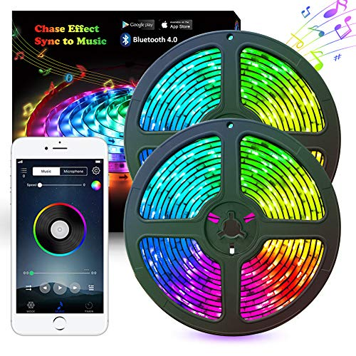 LED Strip Lights,Abtong Music LED Lights Strip RGB,10M 33.8ft Bluetooth Strip Lights Dreamcolor Smart Phone APP Control,Rope Lights Waterproof LED Strip Kit Support iPhone Android, Rainbow Led Lights