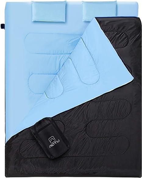 Outad - Saco de dormir doble, impermeable, color negro y azul ...