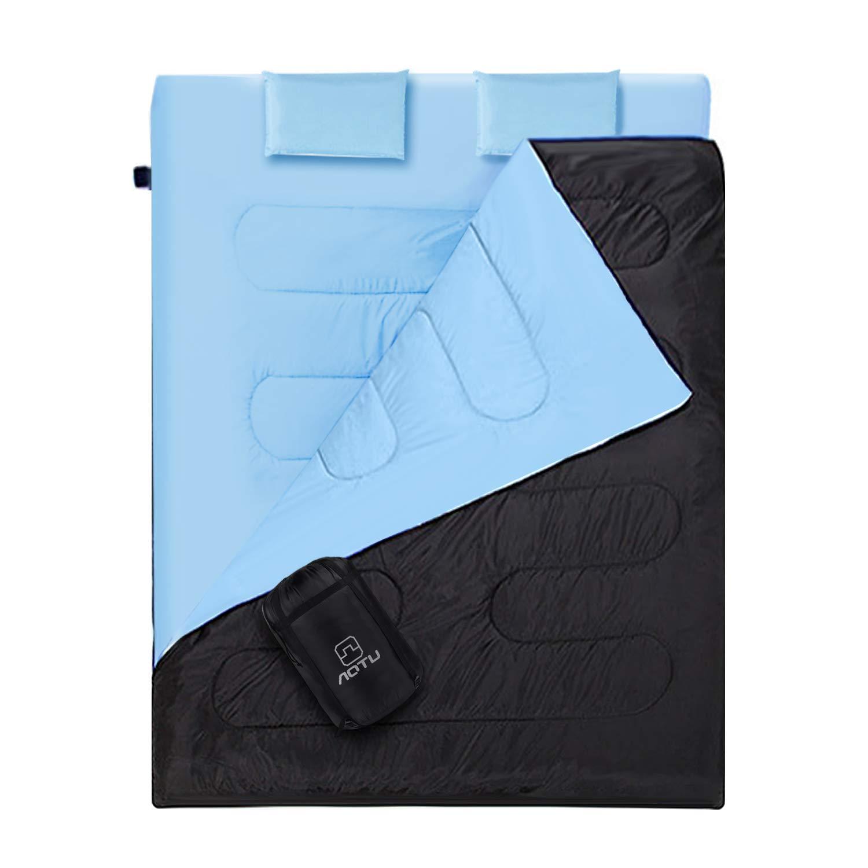 Outad - Saco de dormir doble, impermeable, color negro y azul product image
