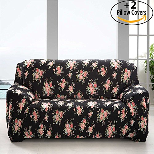 iisutas Spandex Fabric Stretch Couch Covers Sofa Slipcover for 3 Cushion Couch with 2 Pillow Covers 70