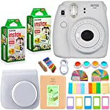 FujiFilm Instax Mini 9 Camera and Accessories Bundle - Camera, Instant Film (40 Sheets), Carrying Case, Color Filters, Photo Album, Stickers, Selfie Lens + MORE (Smokey White)