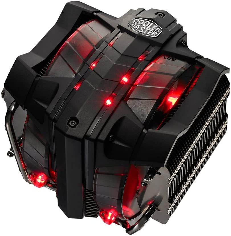 Cooler Master V8 GTS High Performance CPU Cooler w/ Horizontal Vapor Chamber, 8 Heatpipes, Aluminum Fins, Dual 120mm Fans, Red LED, Intel LGA1151