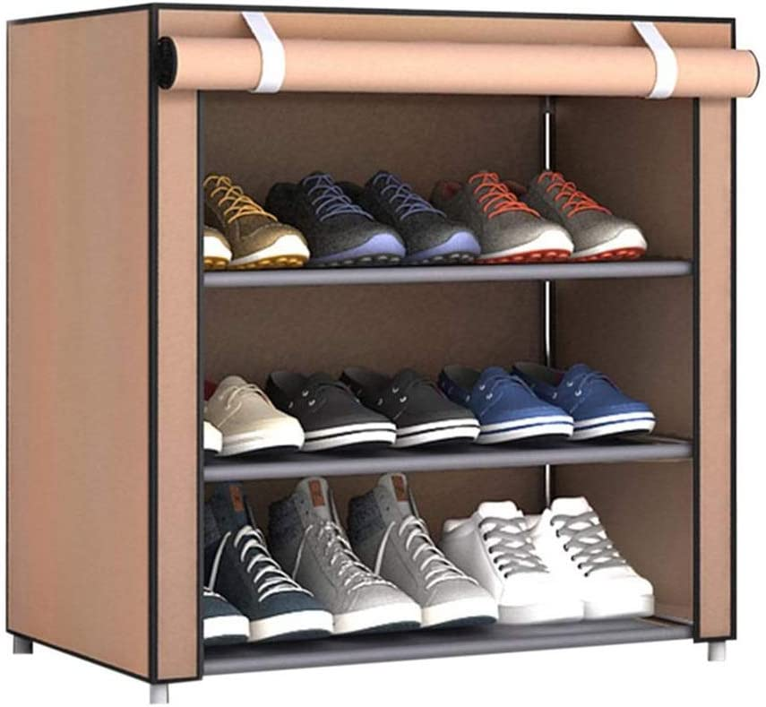 DAGCOT Shoe Organizer Large Non-Woven Shoe Rack Shoe Storage Bag Home Bedroom Shoe Rack Non-Woven Cover (Three Layers/Four Layers/Five Layers) Storage Shelf (Color : Beige, Size : S)