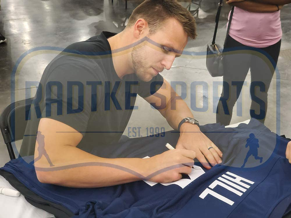 Taysom Hill Autographed//Signed BYU Custom Navy Blue Jersey