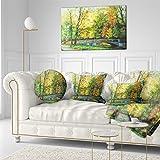 Design Art Designart Bridge in Colorful Forest Landscape Painting Canvas Print