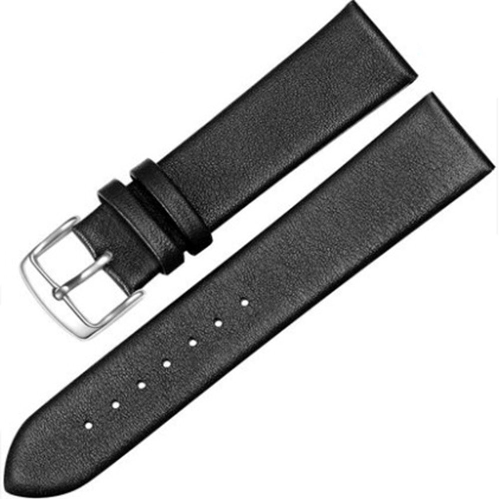 18-22mm New Genuine Leather Silver Clasp Wrist Watch Bands Strap Replacement for Gents Mens (21mm, Black)