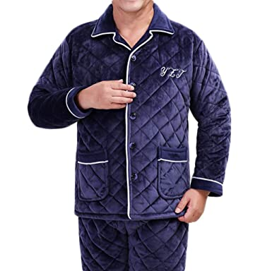 PFSYR Conjunto de pijamas para hombre, envejecido medio y viejo, espeso, cálido,