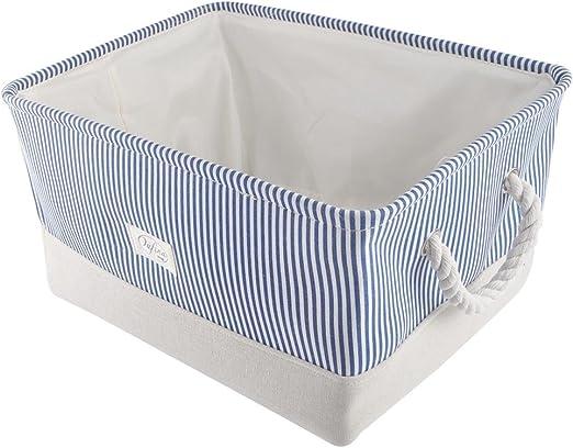 Ideapro - Caja de almacenamiento de lienzo, algodón y yute, portátil, plegable, gran bolsa de almacenamiento para bebé, juguetes, ropa y libros con cierre de cordón para resistente al polvo: Amazon.es: Hogar