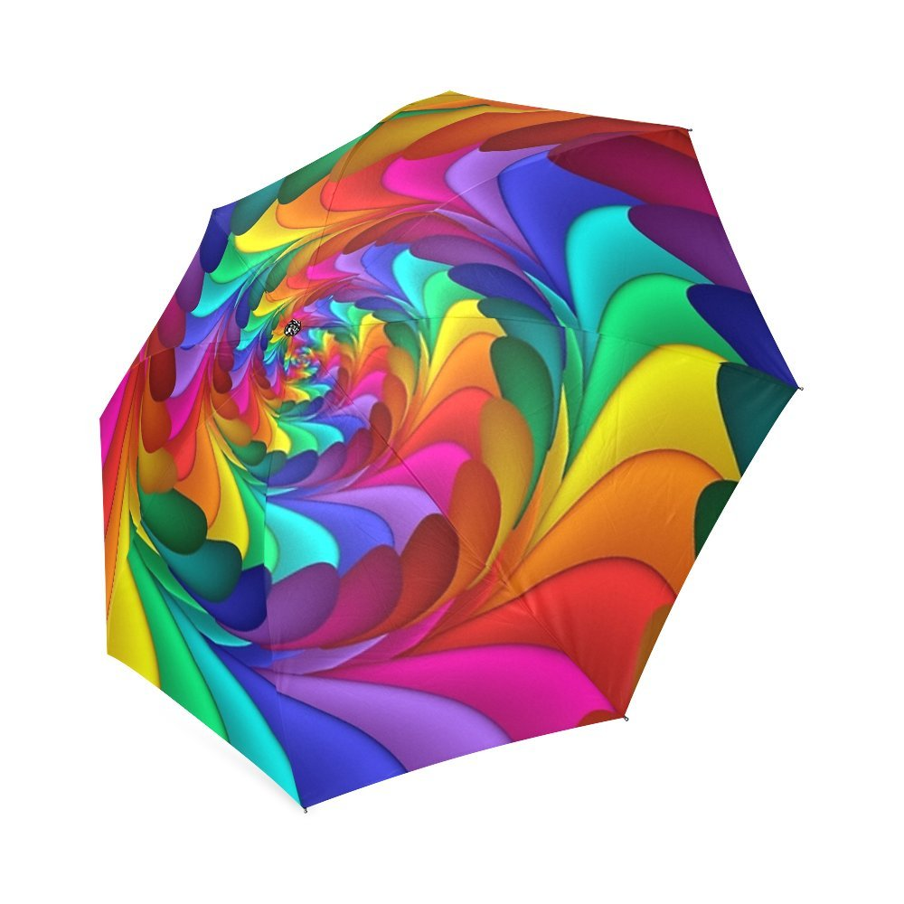 Psychedelic Rainbow Spiral Custom Foldable Umbrella Sun Rain Travel Umbrella Anti-UV Rain Rain