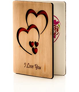 Anniversary Cards Gifts Classic Handmade Wooden Bamboo Greeting Card Can Be Given