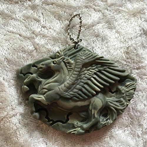 natural ribbon jasper gemstone carved pegasus pendant
