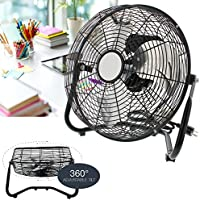 3 Speed High Velocity 12 Inch Floor Cradle Fan 360 Degree Adjustable Tilt Black