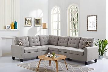 Amazon Com 4 Piece Soft Linen Reversible Sectional Sofa Set 2 Laf