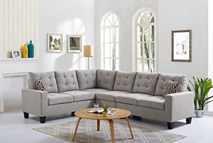 Amazon.com: 4-Piece Soft Linen Reversible Sectional Sofa Set, 2 LAF ...