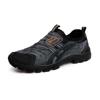 Chaussures de Course Slip on Hommes Sneakers de Sport Running Trail  Entraînement Baskets Respirantes Noir Marron e0748eedb48
