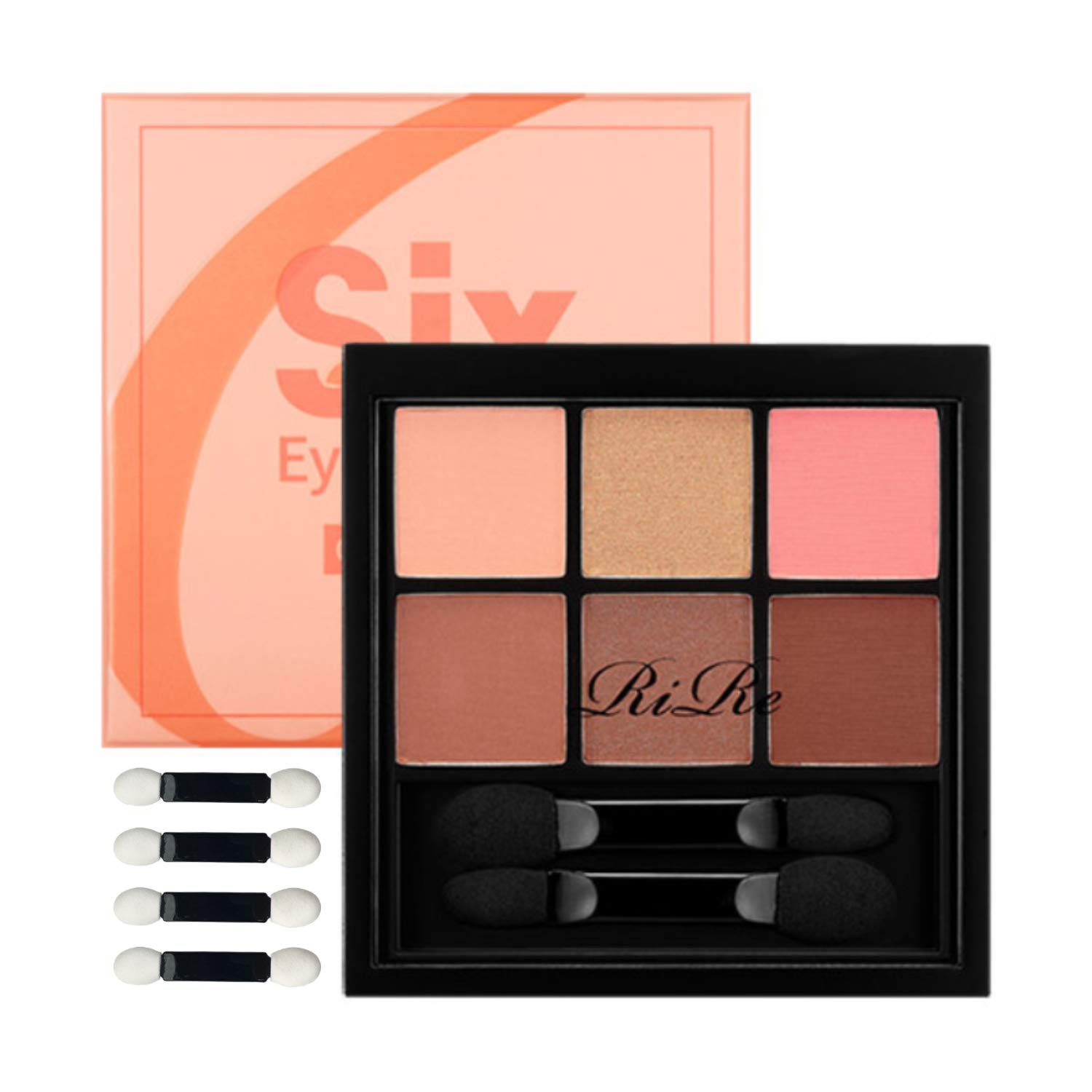 RiRe Six Eye Palette 6 Colors Eyeshadow Makeup Palette 8.4g \/ 0.3 oz with Eyeshadow Brushes (Coral Mood)