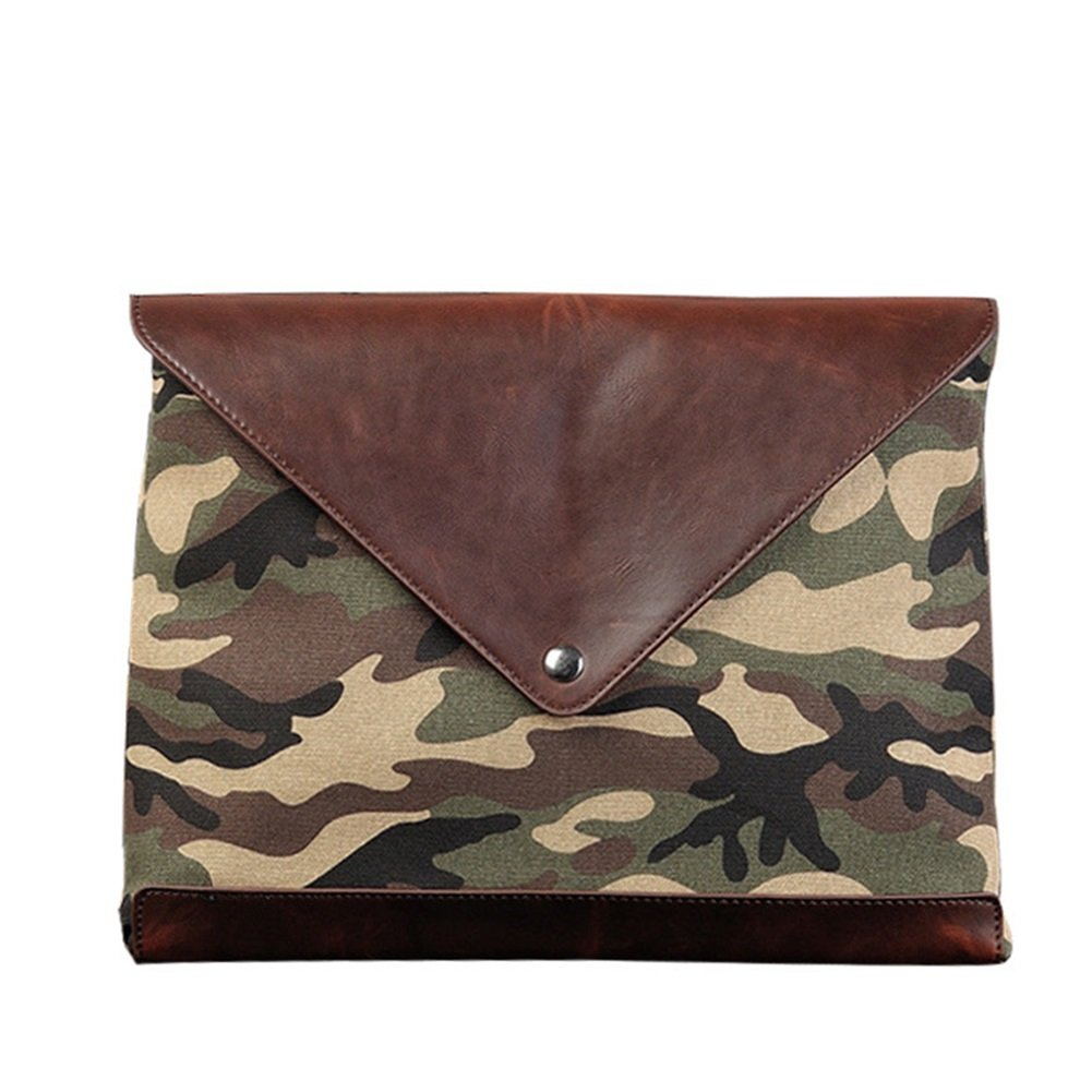 Men PU Leather Multifunction Office Documents Bags, Travel Universal Cable Organizer Electronics Accessories Cases,Envelope Handbag with Zipper Camouflage(PB02)
