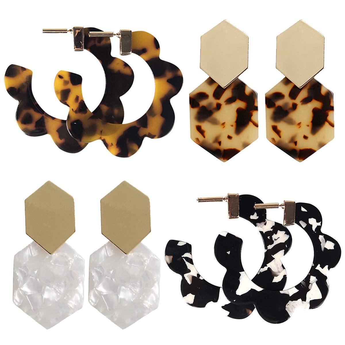 9 Pairs Acrylic-Resin-Hoop-Earrings-Set for Women Statement Leopard Earrings Stud Mottled Drop Dangle Earring Bohemian Jewelry for Girls