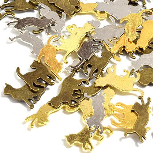 [UNATA.] 猫 チャーム 50個 セット 3色アソート ねこ メタル パーツ uvレジン 封入 アクセサリー ゴールド シルバー 金古美 アンティークの商品画像