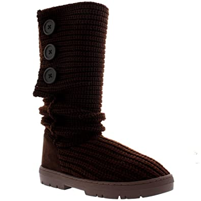 c8883e2054fd4 Holly Womens Snow Boot Knitted Tall Winter Snow Waterproof Warm Rain Boot