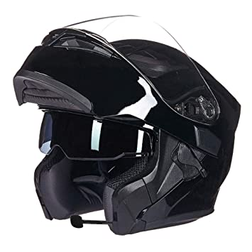 GWJ Smart Motorcycle Bluetooth Cascos Punto Modular Abatible Bluetooth Touring Cascos Incorporado De Doble Altavoz Bluetooth