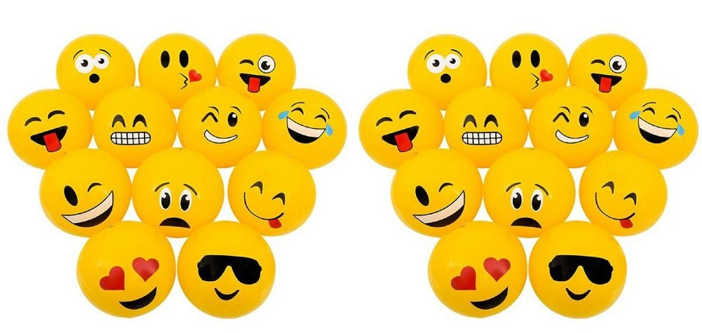 Novelty Treasures Set of 24 POPULAR Emoji Inflatable Beach Balls (12'') Party Supplies by Novelty Treasures