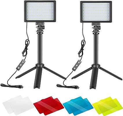 Neewer 2 Packs Kit Iluminación Fotografía Portátil Regulable 5600K USB 66 Luz Video LED con Mini Trípode Ajustable Filtros Color para Fotografía Mesa/Angulo Bajo Video Estudio: Amazon.es: Electrónica