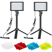 Neewer 2 Packs Portable Photography Lighting Kit Dimmable 5600K USB 66 LED Video Light with Mini Adjustable Tripod Stand…