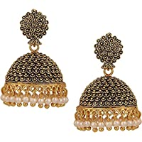 MEENAZ Gold-Plated Brass Copper Pearl Jhumki Earrings for Women