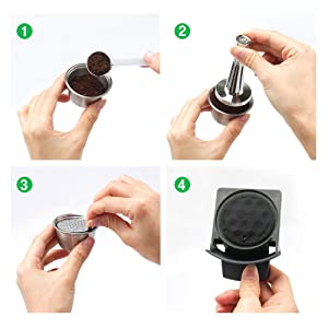 i Cafilas Refillable Capsules Reusable Coffee Pods Filters Compatible for Nescafe Dolce Gusto lumio Coffee Maker with Spoon and Brush (Color: Black with Tamper for lumio)