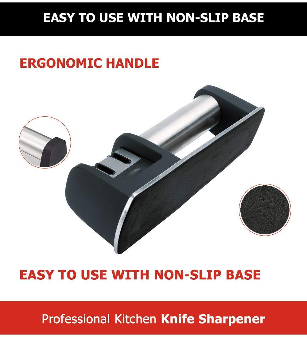 Kitchen Knife Sharpener - 2-Stage Knife Sharpening Tool Helps Repair, Restore and Polish Blades, Afilador de Cuchillos by Swiss Cas