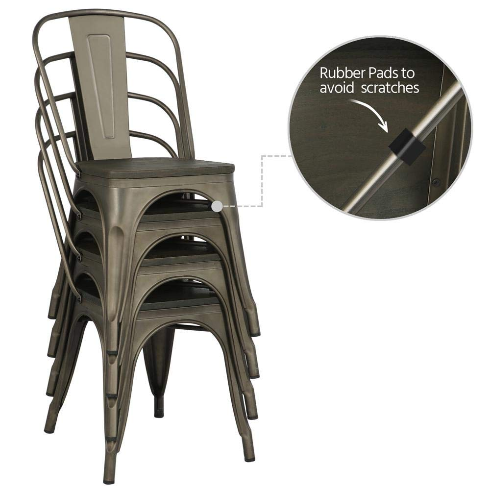 Yaheetech Metal Dining Chairs with Wood Seat/Top Stackable Side Chairs Kitchen Chairs with Back Indoor-Outdoor Classic/Chic/Industrial/Vintage Bistro Café Trattoria Kitchen Gun Metal,Set of 4 by Yaheetech (Image #3)