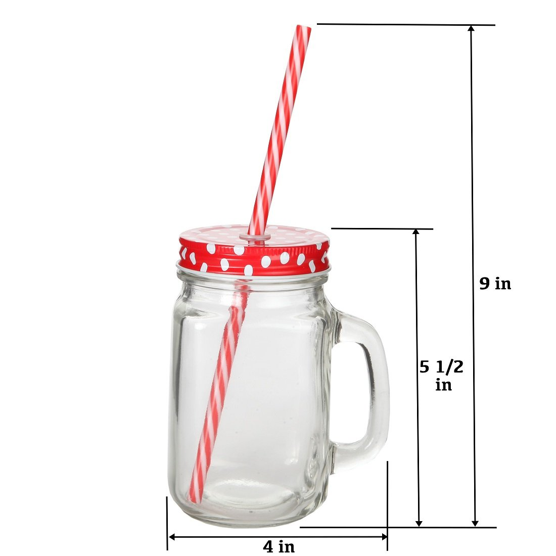 Lily's Home Old Fashioned Mason Jar Mugs with Handles, Polka Dot Lids and Matching Reusable Plastic Straws, Great as Old Fashion Drinking Glasses at BBQs and Parties, Clear (16 oz. Each, Set of 4) by Lilyshome (Image #5)