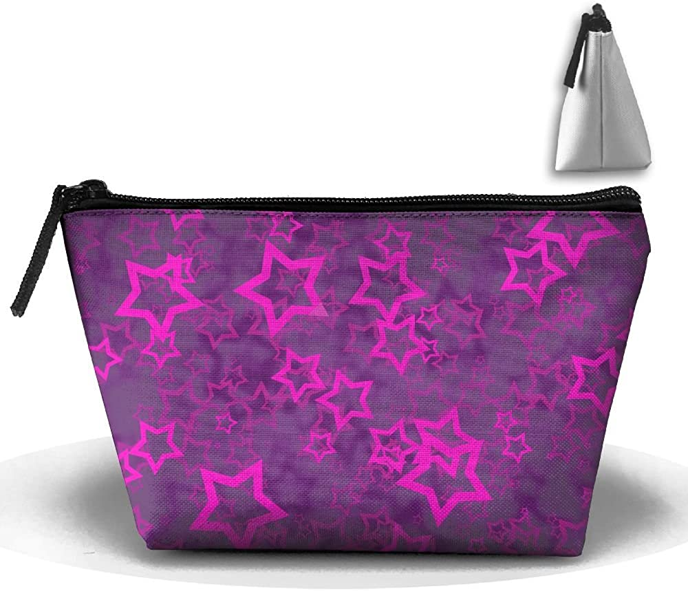 Purple Bright Star Multifunction Portable Pouch Trapezoidal Storage Travel Bag