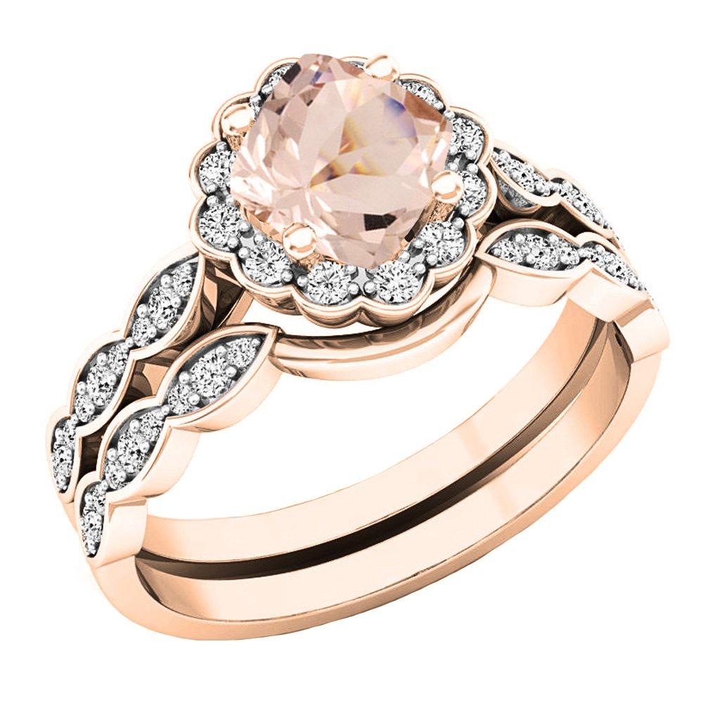 14K Rose Gold 5.5 MM Cushion Morganite & Round Diamond Ladies Halo Engagement Ring Set (Size 6)