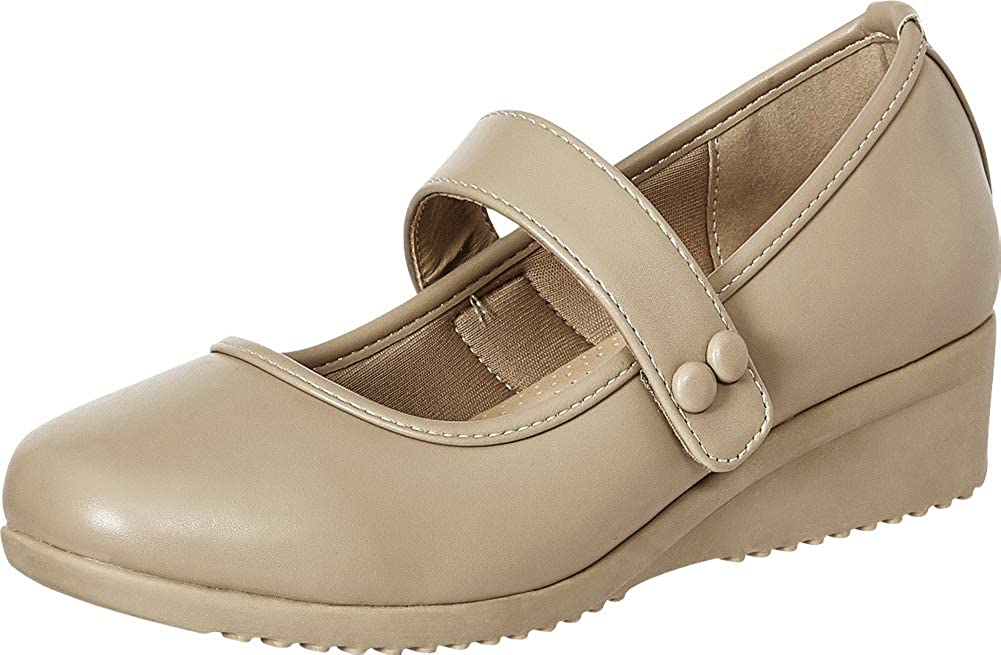 Taupe Pu Cambridge Select Women's Padded Comfort Low Wedge Mary Jane