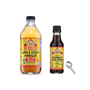 Bragg Organic Apple Cider Vinegar With the Mother 16oz and Coconut Aminos All Purpose Seasoning 10oz With Measuring Spoon Bundle