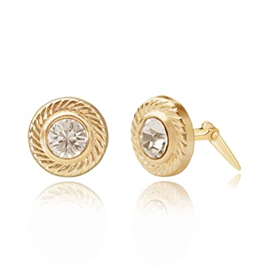 6fef64ba1 9ct yellow gold circle edged Andralok stud earrings / Gift box:  Amazon.co.uk: Jewellery