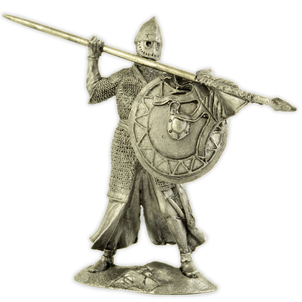 Middle ages. Red Cross Knight, 12 century. Metal sculpture. Collection 54mm (scale 1/32) miniature figurine. Tin toy soldiers Gifts & Souvenirs