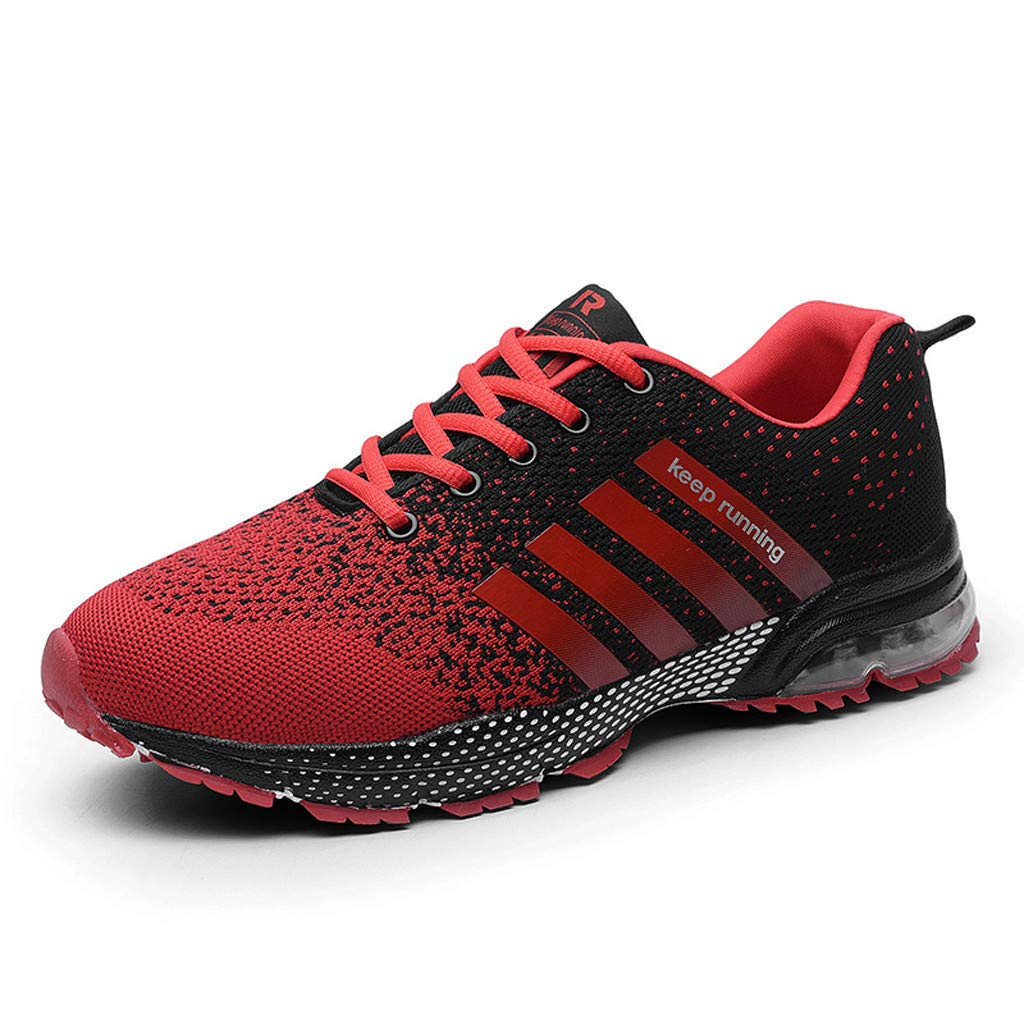 Women Sport Shoes Air Cushion Knit Breathable Casual Walking Running Sneaker (US:7. 5, Red) by Yihaojia Women Shoes