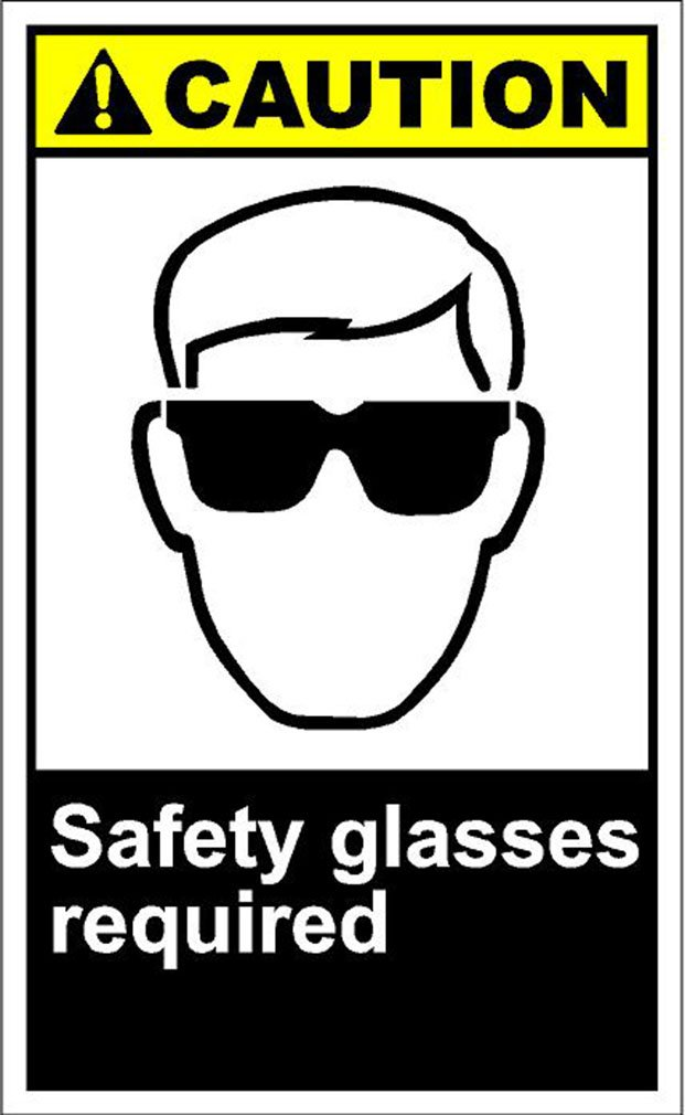 Safety Glasses Required Caution OSHA / ANSI Aluminum METAL Sign 9 in x 12 in