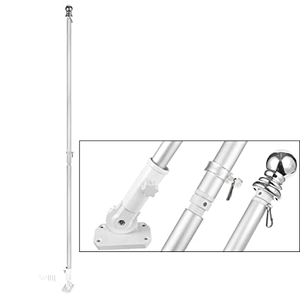 Juvale Outdoor Metal Flag Holder Mounting Bracket and Pole Set for Home, 72  Inches