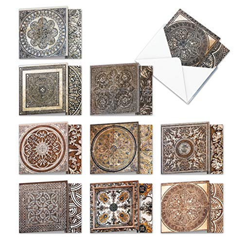 Classic Antique Tiles - 10 Boxed Assorted Blank Note Cards with Envelopes (4 x 5.12 Inch) - Classic Elegant All Occasion Greeting Cards - Notecard Set for Any Occasion AMQ6278OCB-B1x10