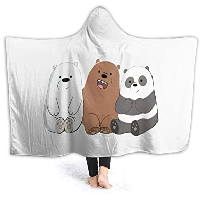 Andea Cool We Bare Bears Hooded Blanket Warm Wearable Novelty Cape for Kids Adults 80x60 Inch: Kitchen & Dining