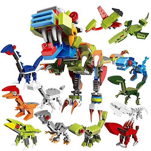 PG Dinosaurs T-Rex Toy Lego - Compatible,Mini Building Bricks Set 12 in 1,Dino Birthday Party Favors Supplies/Pinata/Educational Model for Kid Boys Girls by PG