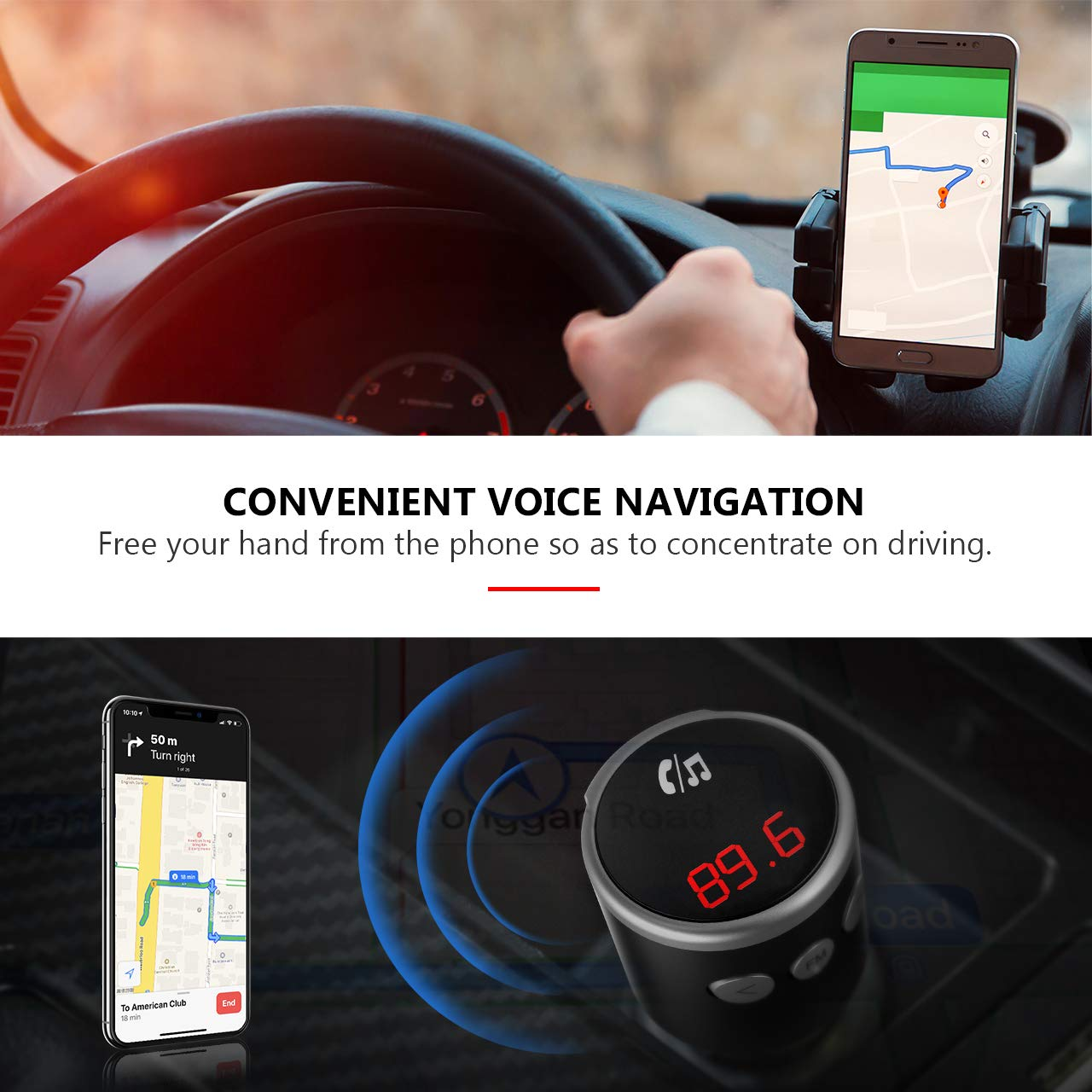 Voice Navigation and 2 USB Ports Support USB Flash Drive Wireless Bluetooth FM Radio Adapter Music Player Car Kit with Hands Free Calls VicTsing QC3.0 Car Bluetooth FM Transmitter