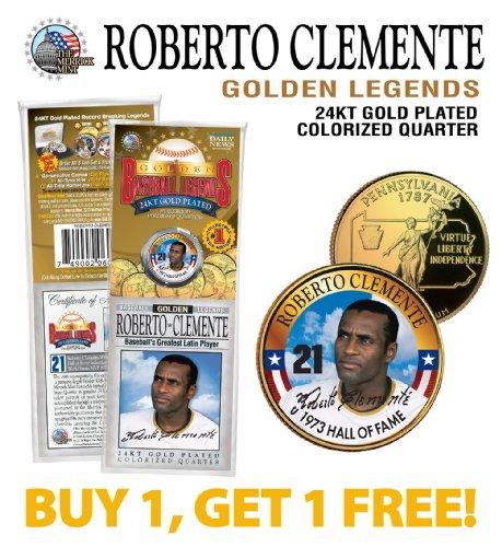 - ROBERTO CLEMENTE Golden Legends Gold Plated State Quarter Coin BUY 1 GET 1 bogo