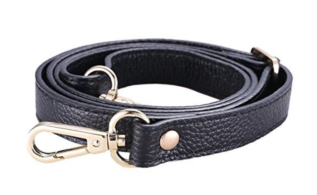 VIEEL Replacement Adjustable Leather Shoulder Strap With Metal Swivel hooks for Crossbody Bag Briefcase Messenger Bag Shoulder Bag Purse Making -2 CM Width (Golden buckle) VIEEL House