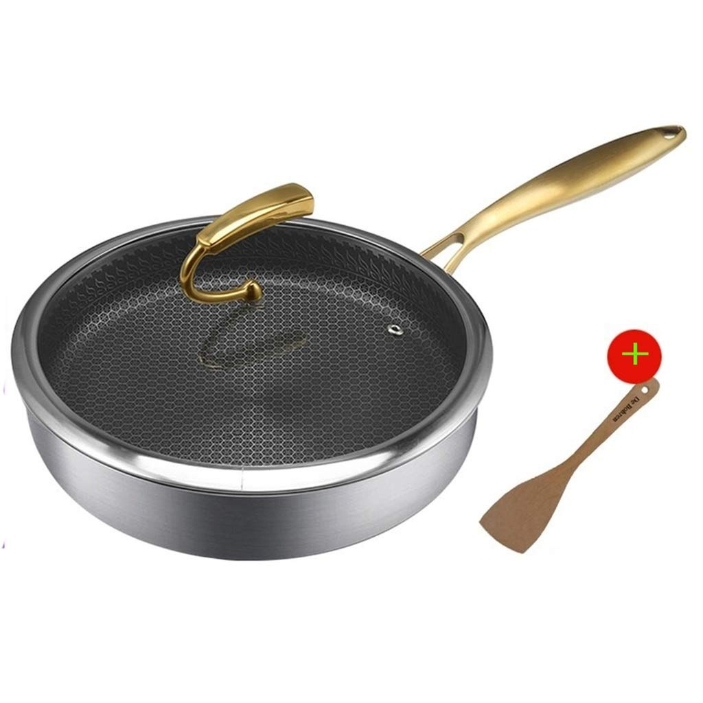Stainless Steel Frying Pan Non-stick Pan With Lid/Saute Pan With Lid (26cm) QYLOZ